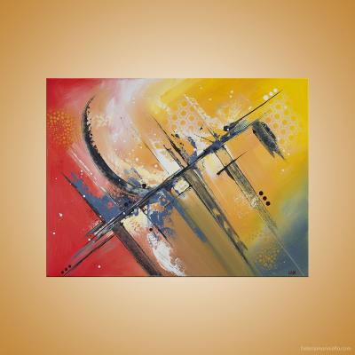 Peinture abstraite de l'artiste Helena Monniello qui symbolise le rythme.