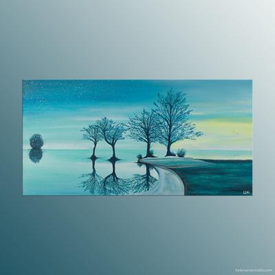 Peinture figurative de l'artiste Helena Monniello représentant un paysage au bord de l'eau dans les tons bleus, verts.