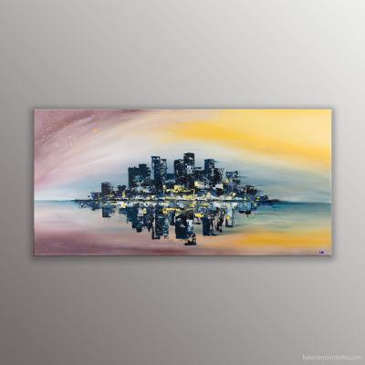 Peinture de l'artiste Helena Monniello représentant un paysage urbain avec reflets dans des tons orangé, marron.