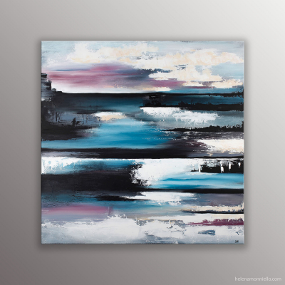 Peinture abstraite de l'artiste Helena Monniello représentant un lac gelé dans les tons de bleu, noir et rose.