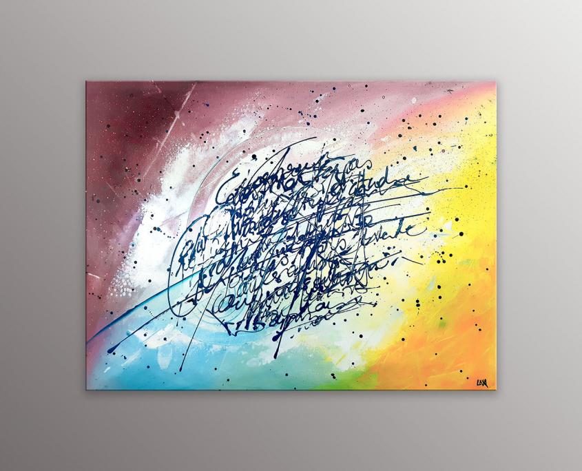 Peinture abstraite de l'artiste Helena Monniello qui représente des écrits avec un fond haut en couleurs.