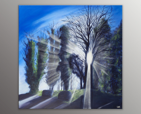 Peinture figurative de l'artiste Helena Monniello représentant un paysage avec beaucoup de lumière à travers des arbres.