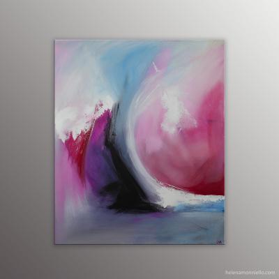 Peinture abstraite de l'artiste Helena Monniello dans des tons roses évoquant l'amour et les relations hommes-femmes.