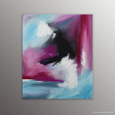 Peinture abstraite de l'artiste Helena Monniello toute en rose bleu et noir.