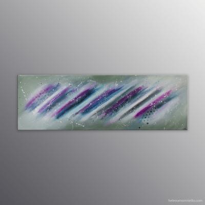 Peinture abstraite de l'artiste Helena Monniello qui évoque la rapidité, le mouvement.