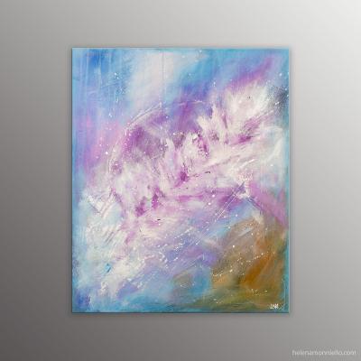 Peinture abstraite de l'artiste Helena Monniello dans les tons mauve et bleu qui évoque le froid.