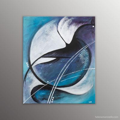 Peinture abstraite dans des tons bleu et violet symbolisant l'explosion d'une goutte d'eau.