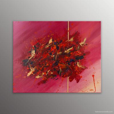 Peinture abstraite de l'artiste Helena Monniello dans des tons de rouge qui évoque l'amour, la passion.