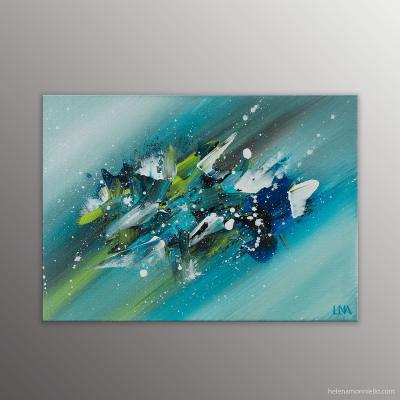 Peinture abstraite au couteau de l'artiste Helena Monniello qui évoque un perce-neige.