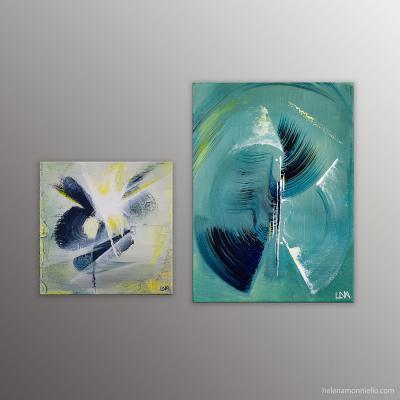 Association de deux peintures de l'artiste Helena Monniello dans l'esprit semi-abstrait et dans des tons verts.