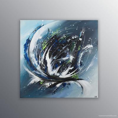 Peinture abstraite de l'artiste Helena Monniello dans des tons de bleus et noir réalisée en speed-painting.