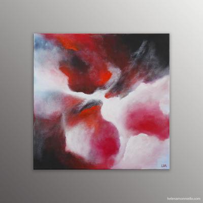 Peinture abstraite de l'artiste Helena Monniello représentant l'irruption volcanique de l'Etna.