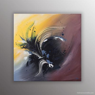 Peinture abstraite de l'artiste Helena Monniello aérienne, florale, douce.