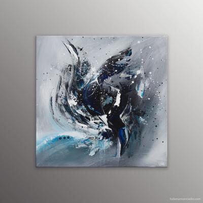 Peinture abstraite de l'artiste Helena Monniello représentant un iris bleu, tons bleu et noir.