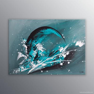 """Peinture abstraite turquoise """"Mer des pluies"""" de Helena Monniello inspirée de la lune et des éléments, les volcans, les minéraux, le temps. Dimensions : 33 x 24 cm."""