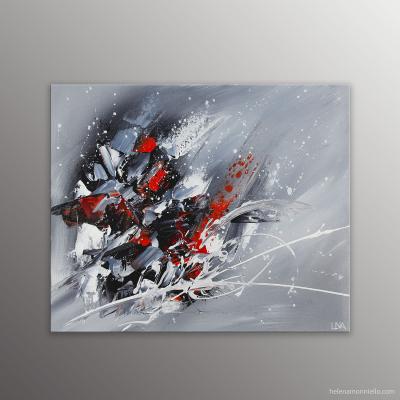 Peinture abstraite de l'artiste Helena Monniello qui rapelle les minéraux, la roche.