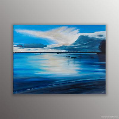 Peinture représentant la plage de Riantec en Bretagne presque au coucher de soleil.