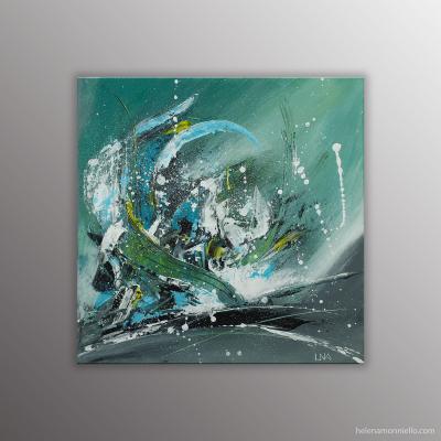 Cette toile est la représentation abstraite de la 3eme vague que nous vivons ; dans des tons de bleu, vert et gris.