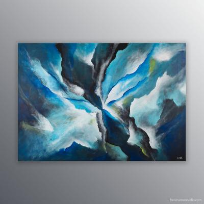 Peinture abstraite de l'artiste Helena Monniello qui représente l'envol d'un papillon, les ailes au vent.