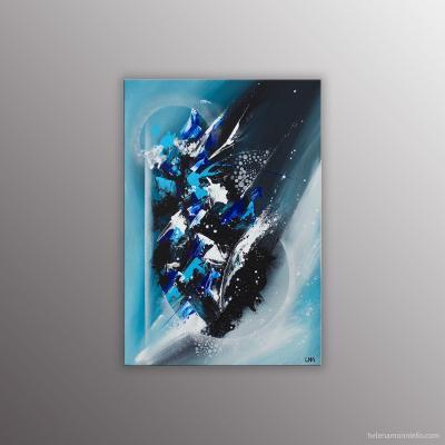Peinture abstraite dans les tons bleu de l'artiste Helena Monniello représentant une comète.