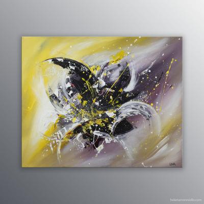 Peinture abstraite de l'artiste Helena Monniello représentant un Lys sur fond jaune et noir.