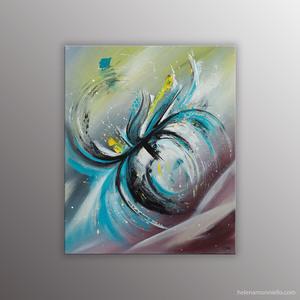 Peinture abstraite de l'artiste Helena Monniello représentant une orchidée au vent.