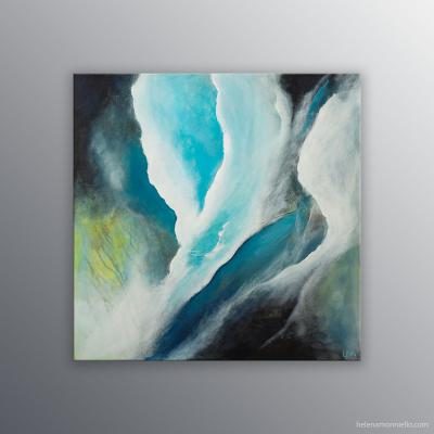 Peinture de l'artiste Helena Monniello qui représente des pluies, de l'eau, une cascade au printemps.
