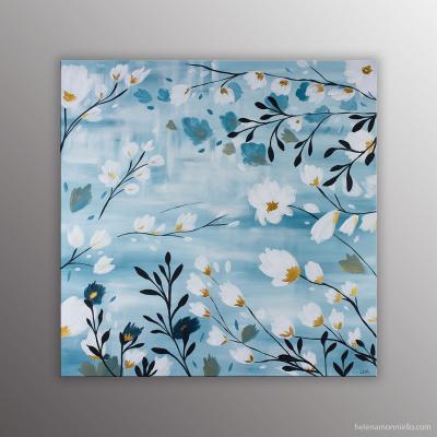 Peinture de l'artiste Helena Monniello représentant une sieste sous l'olivier en fleur, dans des tons de bleus.