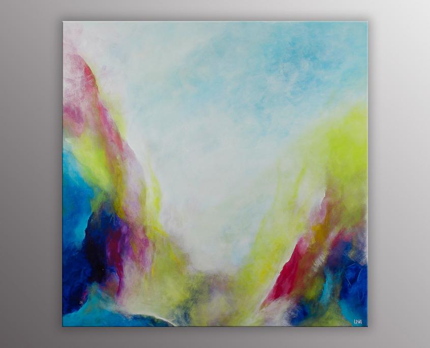 Peinture abstraite de l'artiste Helena Monniello inspirée des effluves matinales autour de chez elle.