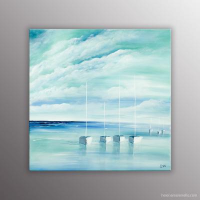 Peinture de l'artiste Helena Monniello représentant un paysage marin dans des tons vert d'eau.