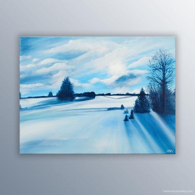 Peinture figurative de l'artiste Helena Monniello représentant une vue prise au bord du lac des Rousses.