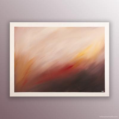 Peinture abstraite de l'artiste Helena Monniello représentant un champ de blé dans des tons de marron, nude.