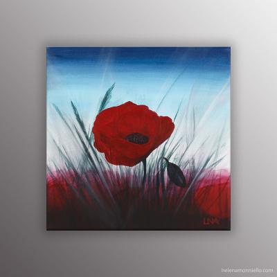 Peinture figurative de l'artiste Helena Monniello réprésentant un coquelicot sur fond bleu et rouge.
