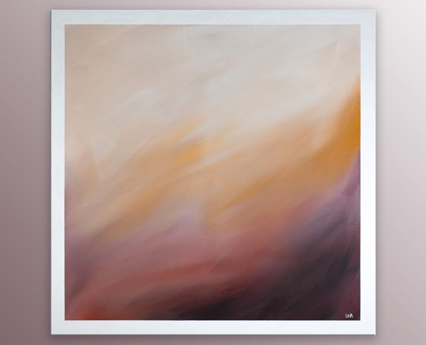 Peinture abstraite de l'artiste Helena Monniello, très douce représentant des dunes de sable.