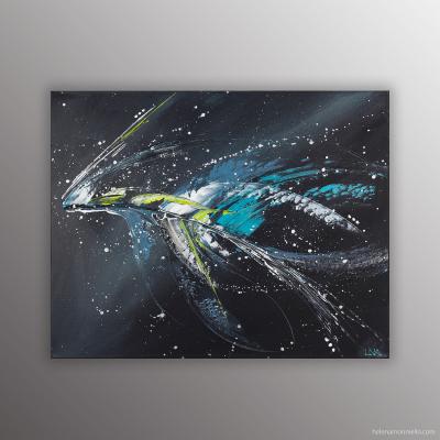 "Peinture abstraite acrylique ""Galactica"" de l'artiste Helena Monniello inspirée des galaxies"