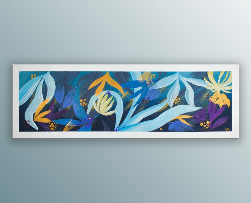 Peinture de l'artiste Helena Monniello qui représente des Strelitzia (Fleurs du paradis).