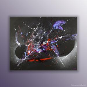 Battlestar peinture abstraite de l'artiste Helena Monniello évoquant les étoiles, le cosmos.