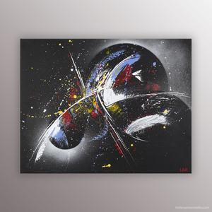 Peinture de l'artiste Helena Monniello sur fond noir avec les étoiles et le cosmos.