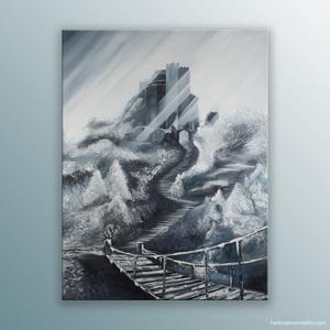 """""""En phase"""" peinture de l'artiste Helena Monniello représentant un paysage montagneux en noir et blanc."""