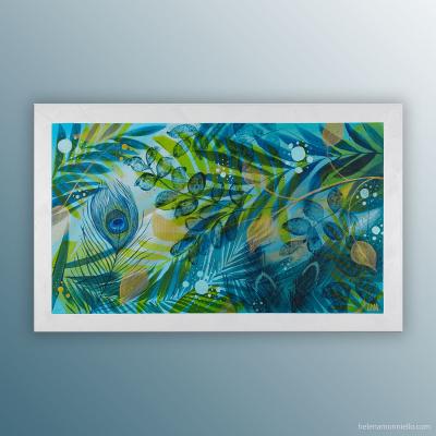 """""""Like gold"""" peinture de l'artiste Helena Monniello représentant la nature."""