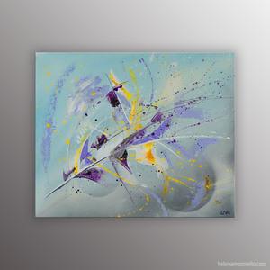 Peinture abstraite de l'artiste Helena Monniello évoquant le maillot jaune et le tour de France.