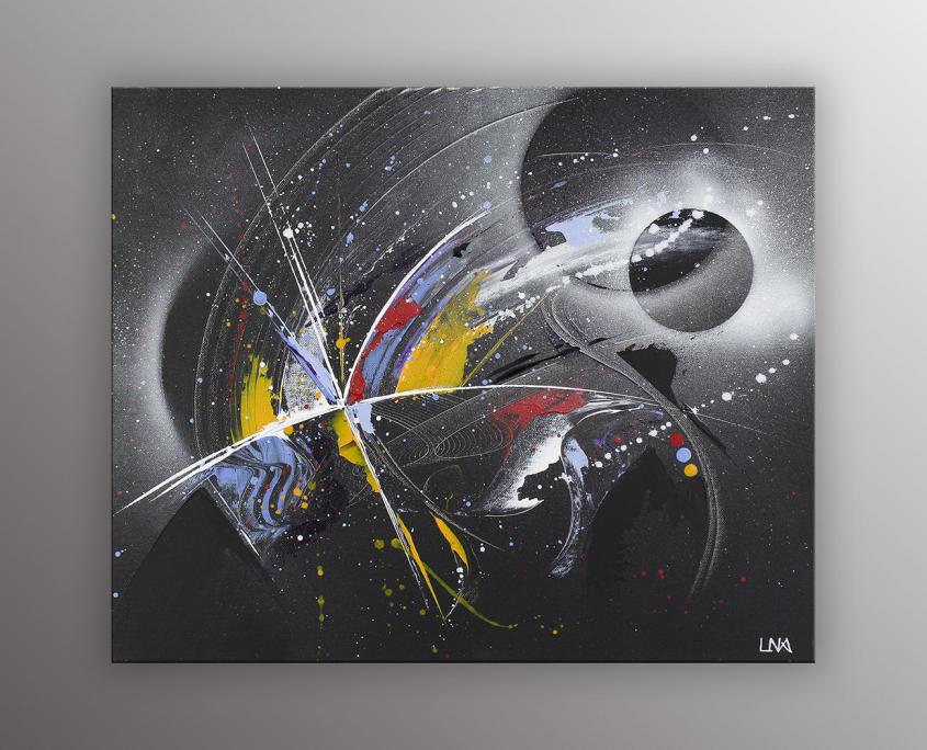Naissance d'une étoile, peinture abstraite futuriste sur fond noir de l'artiste Helena Monniello