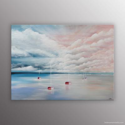 Peinture paysage marin de l'artiste Helena Monniello qui évoque le calme et la sérénité.
