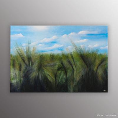 Blés au vent, peinture figurative de l'artiste Helena Monniello représentant un champ de blé dans le vent.