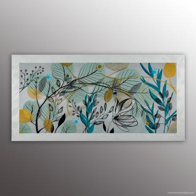 Mimosas, peinture de l'artiste Helena Monniello dans un style végétal. Dimensions : 40 x 80 cm.