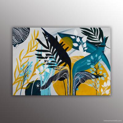 Vegetalis peinture dans des tons jaunes et bleu de l'artiste Helena Monniello. Esprit végétal.