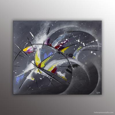 """""""In time"""" peinture abstraite de l'artiste Helena Monniello symbolisant le temps qui passe."""
