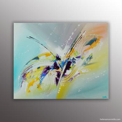 La croisée des chemins, peinture abstraite de l'artiste Helena Monniello. Très colorée.