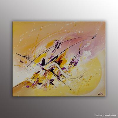 Peinture abstraite très colorée de l'artiste Helena Monniello représentant un bateau à voile.